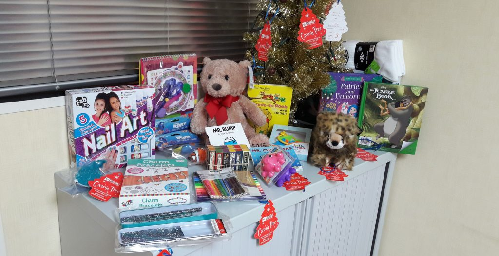 kidsout charity toy selection at aztec commercial cleaning office